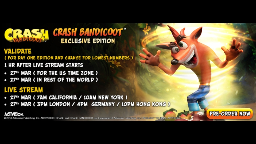 Crash Bandicoot™ Pre-Order FAQs