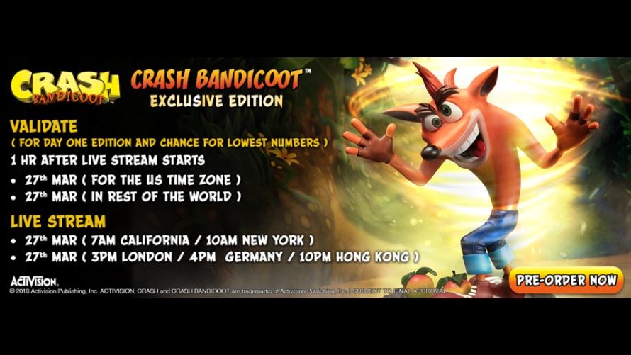 Crash Bandicoot™ Pre-Order FAQs