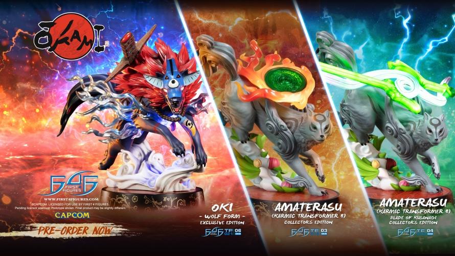 Okami – Oki (Wolf Form) PVC and Amaterasu PVC: Karmic Transformer 8 Statue Launch