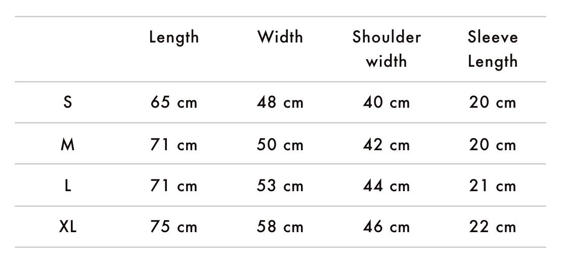 Bonfire Lit T-Shirt Size Chart