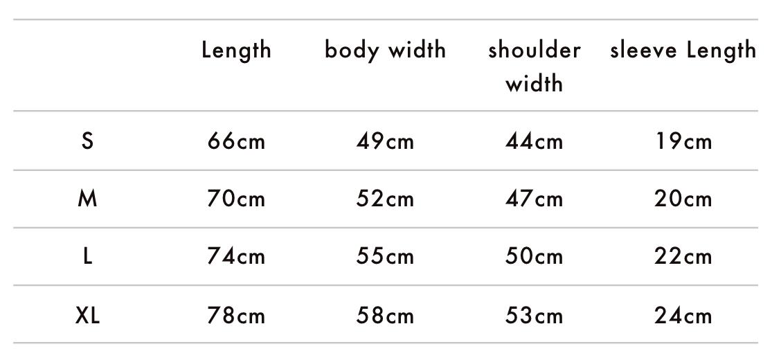Nameless King T-Shirt Size Chart
