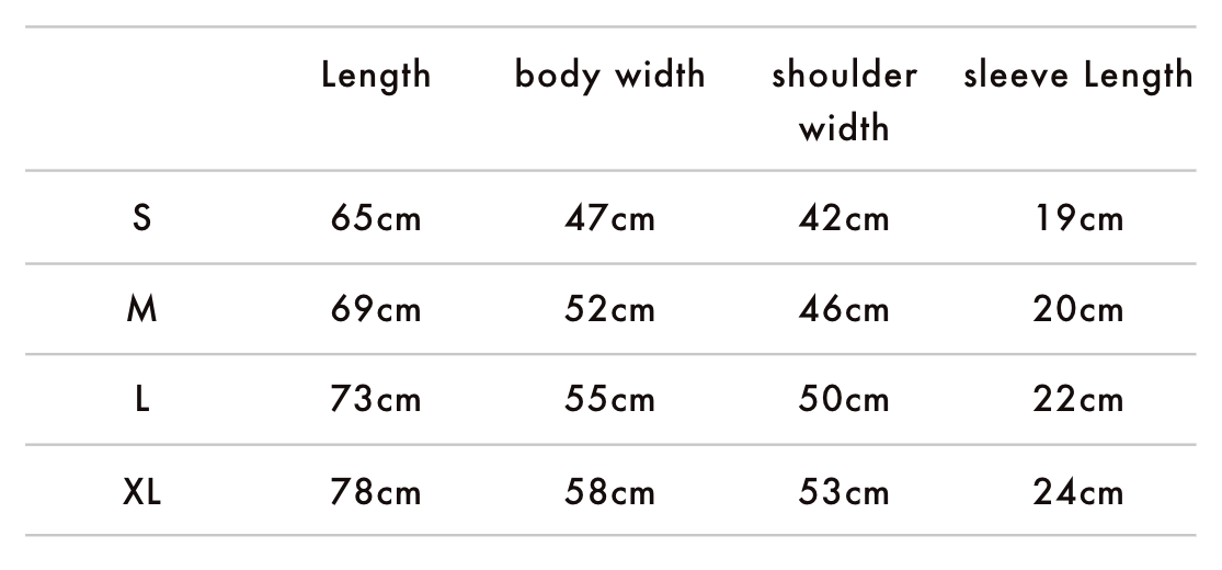 Ornstein and Smough T-Shirt Size Chart