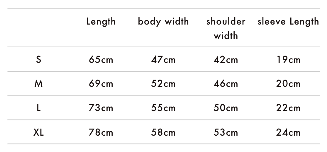 Patches T-Shirt Size Chart