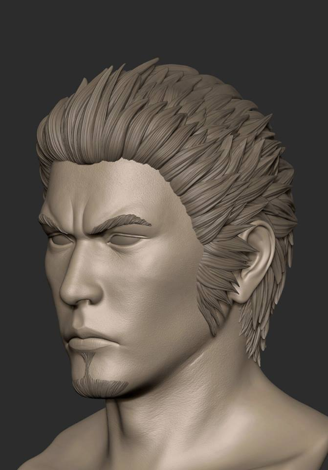 3D render of Kazuma Kiryu's head
