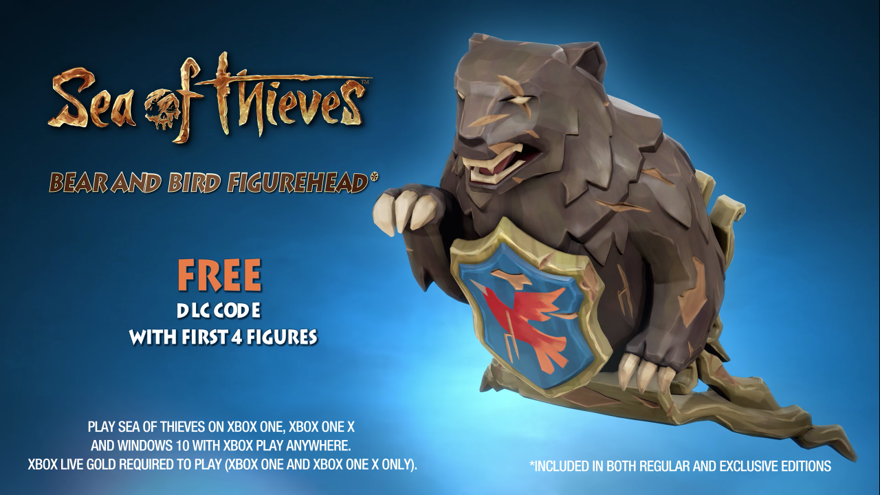 FREE Sea of Thieves DLC code for a Bear and Bird Figurehead in-game item (included in both Regular and Exclusive Editions)