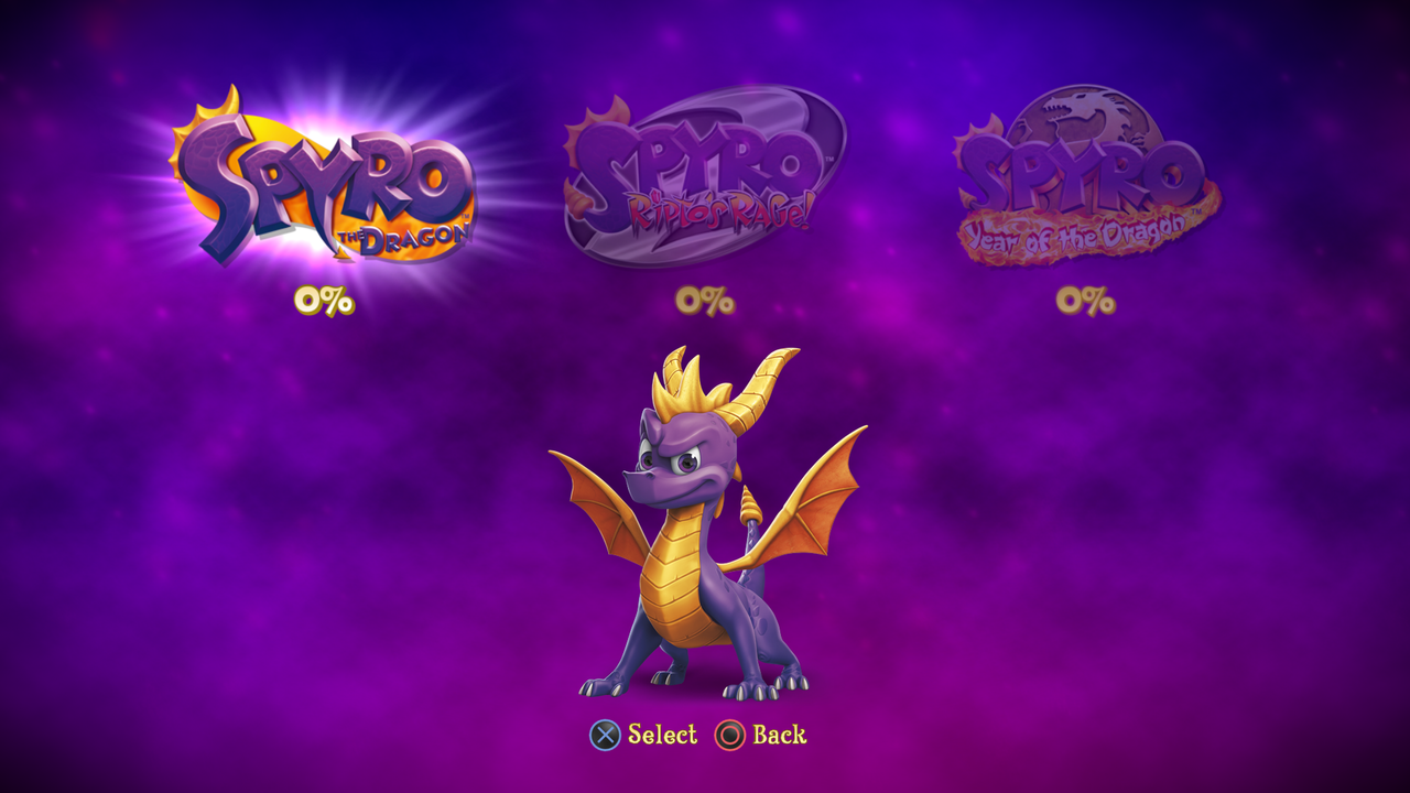 Spyro Reignited Trilogy Selection Screen