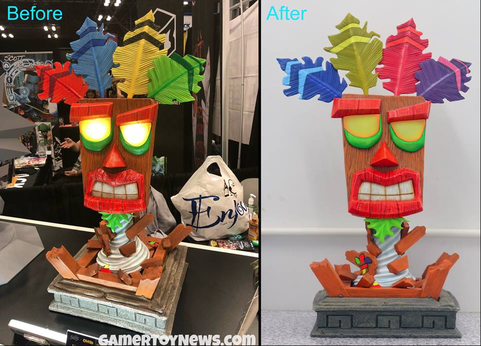 Aku Aku Mask (Life-Sized Replica) Before and After